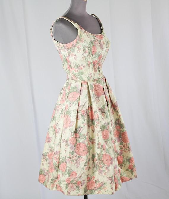 50s Cocktail Prom dress, Pink Floral - image 3