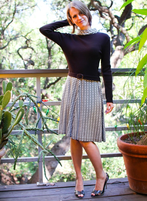 60s MOD DROP-Waist Knit DRESS