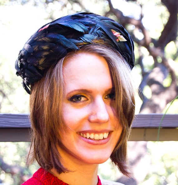60s Black Irridescent Feather Pillbox Hat