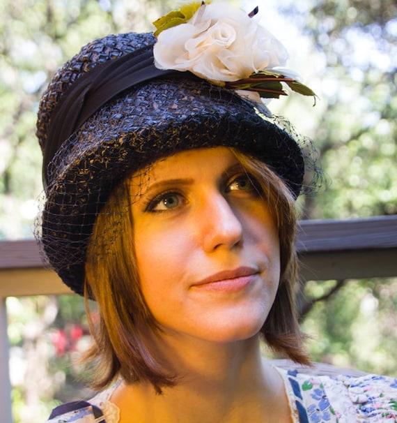 Navy Straw Floral Bucket Hat