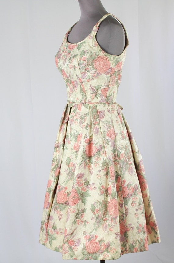 50s Cocktail Prom dress, Pink Floral - image 5
