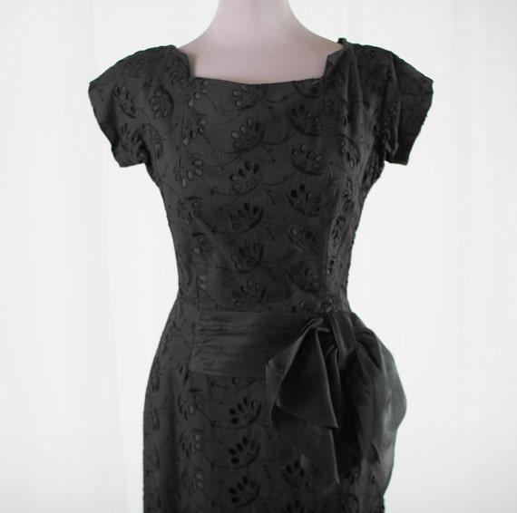 50s Black Eyelet Cocktail Dress
