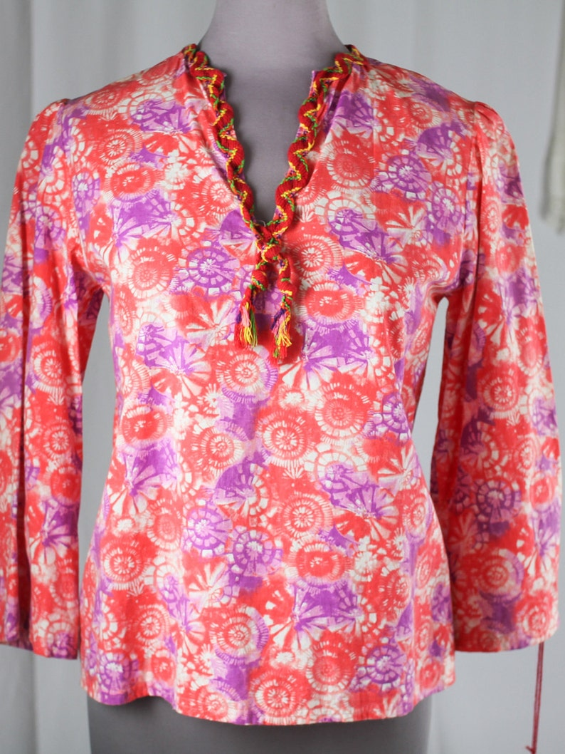 70s Psychedelic Cotton Blouse