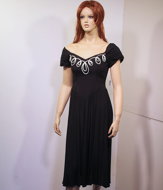 80s Black Dress with Soutache