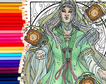 Printable Coloring Book Page for Adults - Lady of August with Birth Flowers Poppies and Floating Obon Lanterns in Art Nouveau Style Line Art