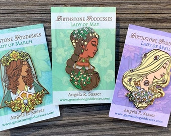 Goddesses of Spring Hard Enamel Pin Set OR Single Pin Art Nouveau Birthstone and Birth Flower for March, April, and May