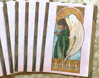 Set or Single Christmas Holiday Postcards - Art Nouveau Christmas Angel with Candles and Celtic Knots Mucha Style