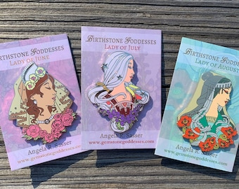 Goddesses of Summer Hard Enamel Pin Set OR Single Pin Art Nouveau Birthstone and Birth Flower for June, July, and August Gold Cloisonné