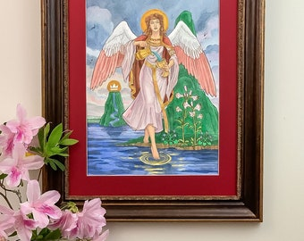 Temperance of the Woven Path Tarot Art Nouveau Style Ink and Watercolor Painting Angel with Chalice and Flowers Medieval Tapestry