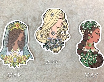 Set or Single Stickers - Goddesses of Spring Removable Vinyl Sticker 4 inch - January, February, and December Birthstone Goddesses Series