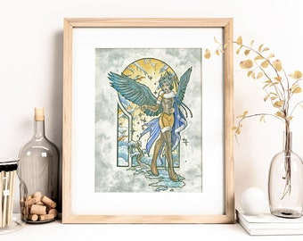 Angel of Winter Ice Queen Goddess with Snowflakes and Raven Wings Angels of the SEasons Series Art Nouveau Mucha Inspired Fine Art Print