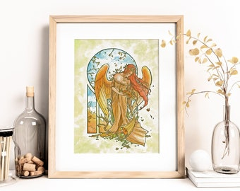 Angel of Autumn Harvest Goddess with Wheat Crown and Cornucopia Angels of the Seasons Series Mucha Inspired Art Nouveau Fine Art Print