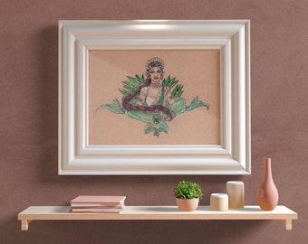 Fine Art Print Lady of Jubilant Dance (May) Dancer with Lily of the Valley and Emeralds Art Nouveau VISAGE Collection Birthstone Goddesses