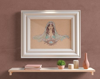 Fine Art Print Lady of Resurrection (March) Ostara with Daffodils and Aquamarine Art Nouveau VISAGE Collection Birthstone Goddesses Series