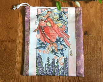 Drawstring Pouch Lady of July Art Nouveau Birthstone Goddesses Series Tanabata Star Festival with Magpies Mucha Style Deck Cosmetic Bag