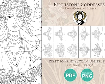 Printable Coloring Book Pack of 12 Pages for Adults - Birthstone Goddesses VISAGE Collection Birthstone Art Nouveau Line Art to Color Pages