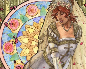 Art Print Lady of June with Roses Bride by the Well Goddess Sun Wheel Birthstone Series Mucha Inspired Art Nouveau Painting