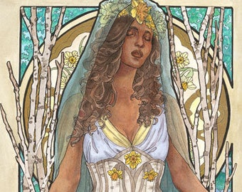 Art Print Lady of March with Daffodils, Stained Glass, and Veil Birthstone Series Goddess Mucha Inspired Art Nouveau Painting