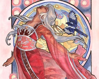 Art Print Lady of July with Floating Sky Lanterns and Magpies Birds Star Festival Birthstone Goddesses Series Mucha Art Nouveau Painting