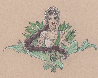 Lady of Jubilant Dance (May) Bellydancers with Lily of the Valley and Emeralds Art Nouveau Birthstone Goddesses Series Premium Luster Photo