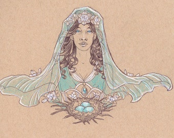 Lady of Resurrection (March) Ostara with Daffodils and Aquamarine Art Nouveau Birthstone Goddesses Series Premium Luster Photo Paper Poster