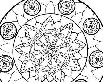 Printable Coloring Book Page for Adults - June Birthstone Birth Flower Summer Solstice Sun Wheel Rose Mandala in Art Nouveau Style Line Art