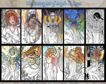 Printable Coloring Book Pack of 10 Pages Series 1 - Fantasy Art Angels Pages to Color