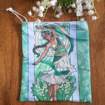 Drawstring Pouch Lady of May Art Nouveau Birthstone Series Goddess Dancer with Lily of the Valley Mucha Style Tarot Deck Cosmetic Pouch