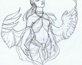 Female Angel with Spread Wings Original Drawing