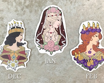 Set or Single Stickers - Goddesses of Winter Removable Vinyl Sticker 4 inch - January, February, and December Birthstone Goddesses Series