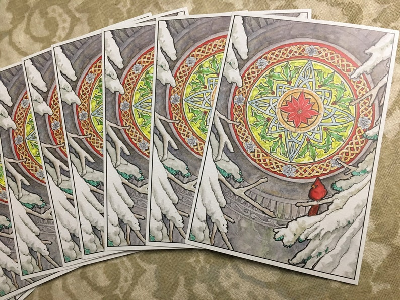Single or Set of 10 Holiday Postcards  Art Nouveau Stained image 0