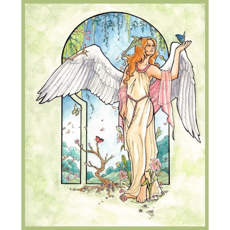 Angel of Spring with Luna Moth Butterflies and Flowers Mucha image 0