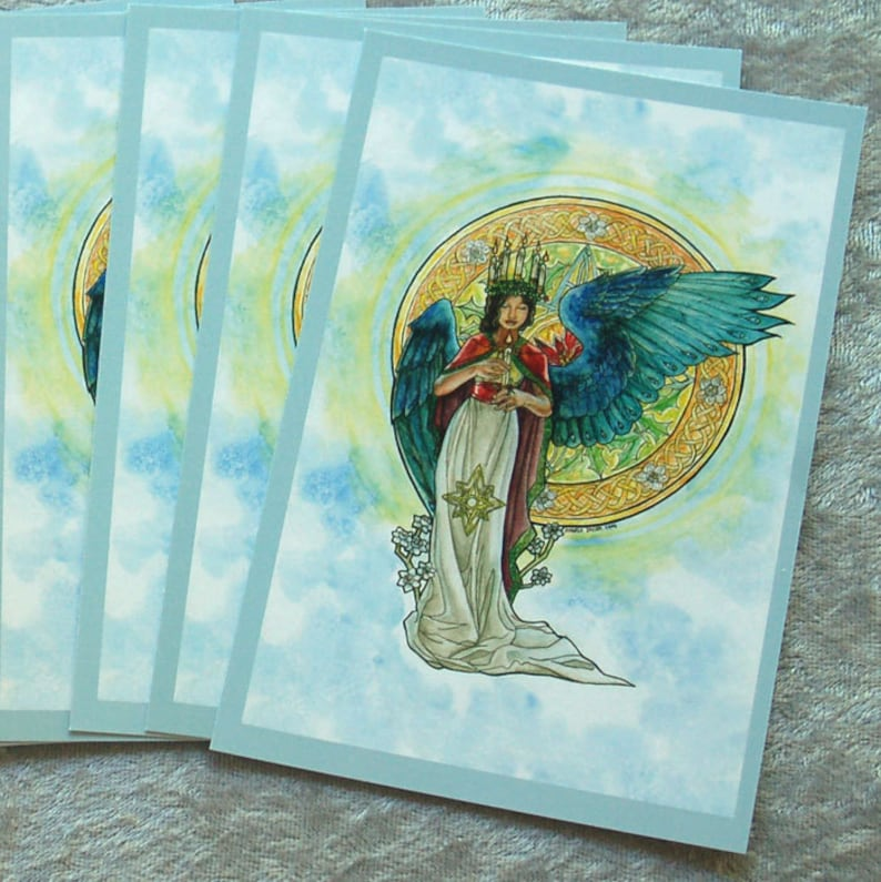 Single OR Set of 10 Holiday Postcards  Saint Lucia Lucy Angel image 0