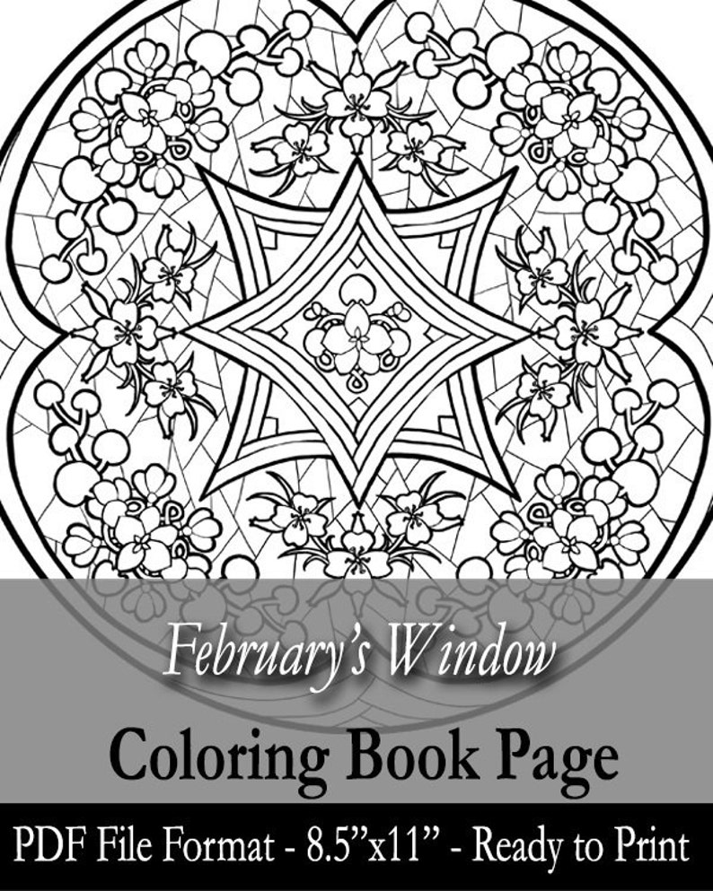 Printable Coloring Book Page for Adults  February Stained image 0