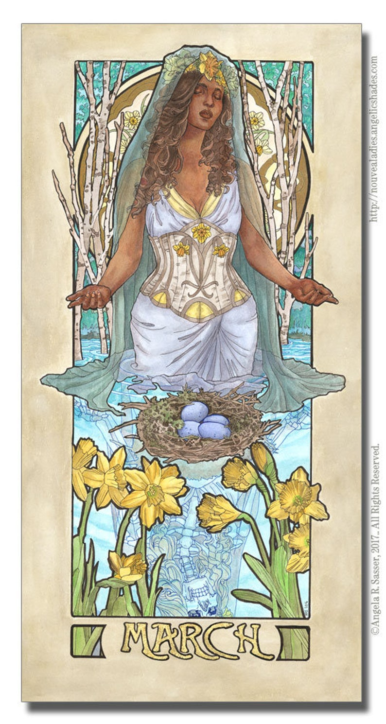 Art Print Lady of March with Daffodils Stained Glass and image 0