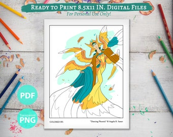 Printable Coloring Book Page for Adults - Dancing Phoenix Angel Winged Bird Woman Dancer Hanfu Fantasy Line Art