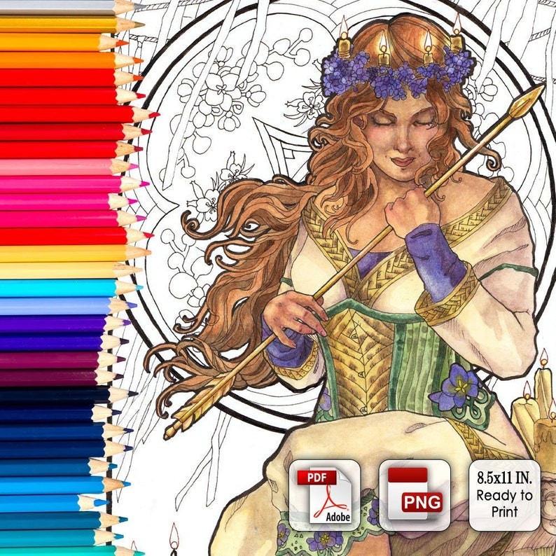 Printable Coloring Book Page for Adults  Lady of February image 0