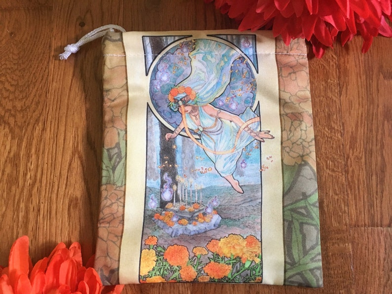 Drawstring Pouch Lady of October Art Nouveau Birthstone Series image 0