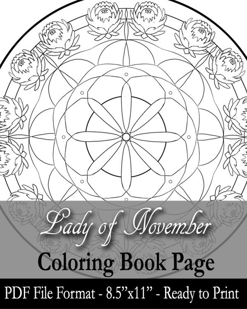 Printable Coloring Book Page for Adults  November Birthstone image 0