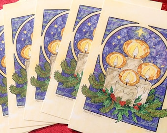 """Set or Single Christmas Holiday Postcards - Art Nouveau """"Winter Offering"""" Holly and Pine with Candles and Stained Glass Mucha Style"""