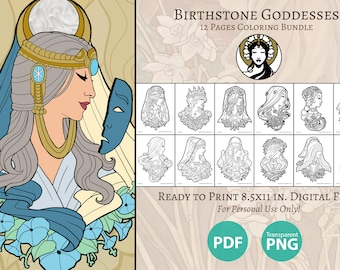 Printable Coloring Book Pack of 12 Pages for Adults Birthstone Goddesses Cameo Collection Birth Flowers Art Nouveau Line Art to Color Pages