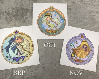 Set or Single Stickers - Little Gem Goddesses of Autumn Vinyl Sticker 4 inch - March, April, and May Chibi Birthstone Art Nouveau Series