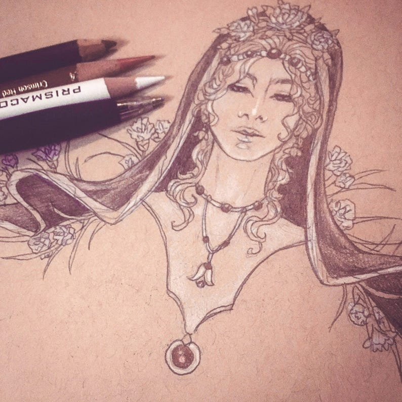Matted Original Drawing Ink and Color Pencil Sketch Art Pagan image 0
