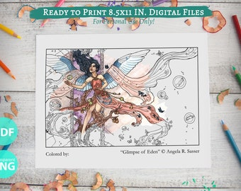 """Printable Coloring Book Page for Adults - """"Glimpse of Eden"""" Winged Wandering Angel with Butterfly Lost Souls Fantasy Celestial Art"""