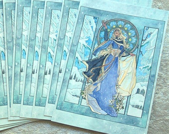 Set of 10 or Single Holiday Christmas Postcards - Snow Ice Queen with White Poinsettia Art Nouveau Mucha Style with Stained Glass Window