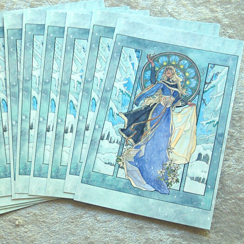 Set of 10 or Single Holiday Postcards  Snow Ice White Queen image 0