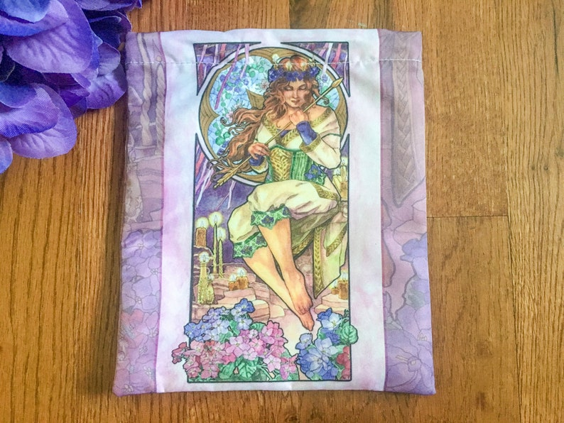 Drawstring Pouch Lady of February Art Nouveau Birthstone image 0