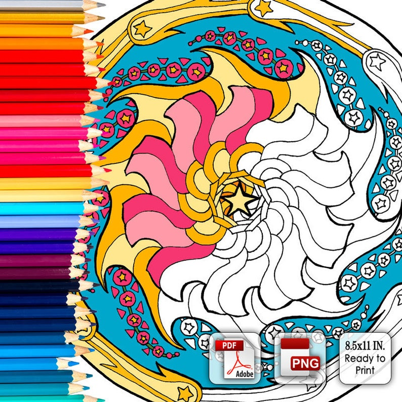 Printable Coloring Book Page for Adults  July's Mandala image 0