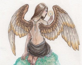 Female Angel with Gold Wings Original Watercolor Painting