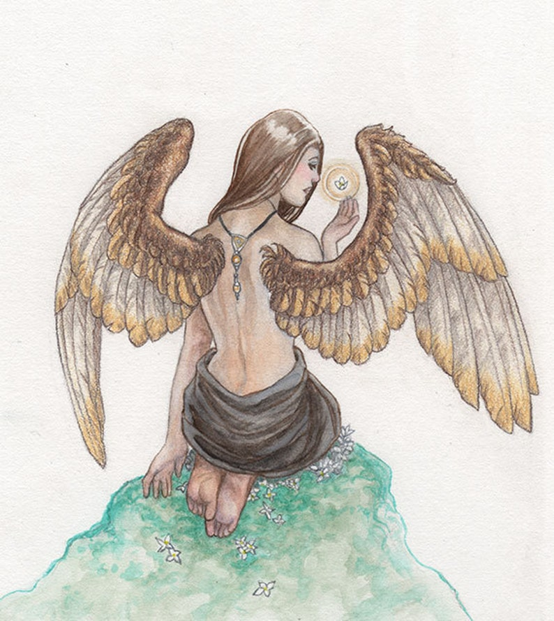 Female Angel with Gold Wings Original Watercolor Painting image 0
